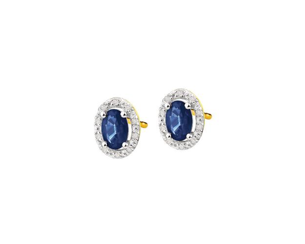 Yellow gold earrings with diamonds and sapphires