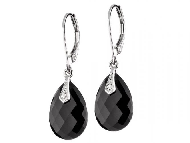 White gold earrings with diamonds and onyx