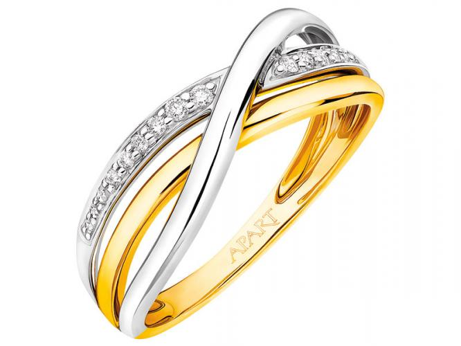Yellow and white gold ring with brilliants