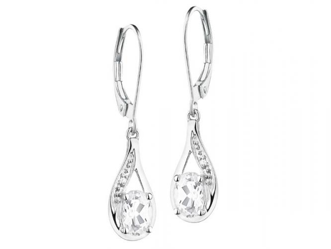 White gold earrings with diamonds and topazes
