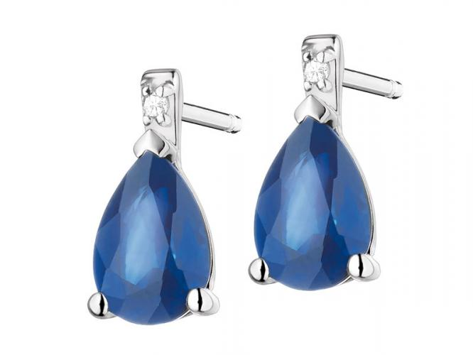 White gold earrings with diamonds and sapphires