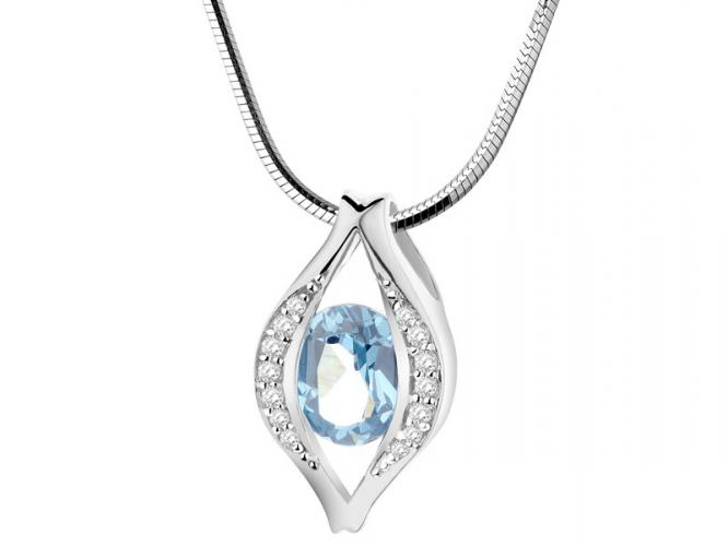 Silver pendant with cubic zirconias and synthetic aquamarine