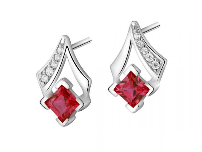 Silver earrings with cubic zirconias and synthetic corundum