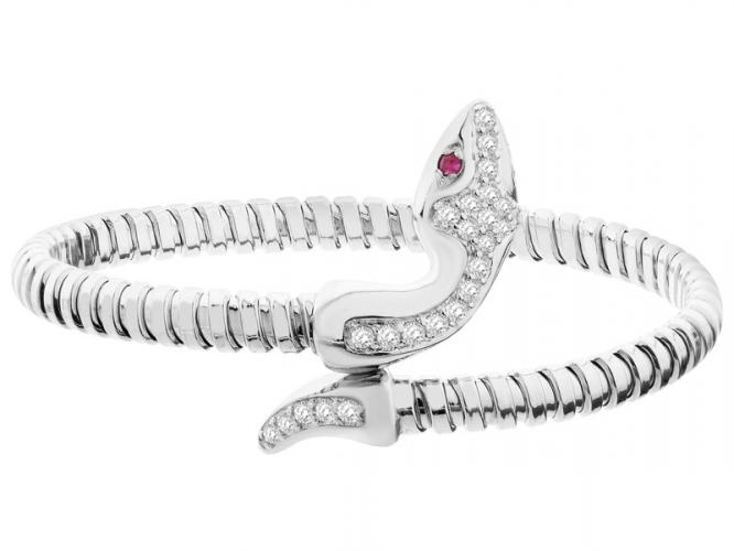 Silver bracelet with cubic zirconia and ruby