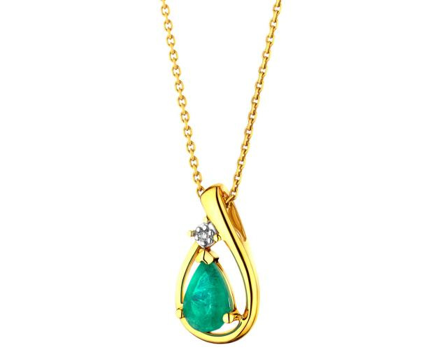 Yellow gold pendant with diamond and emerald
