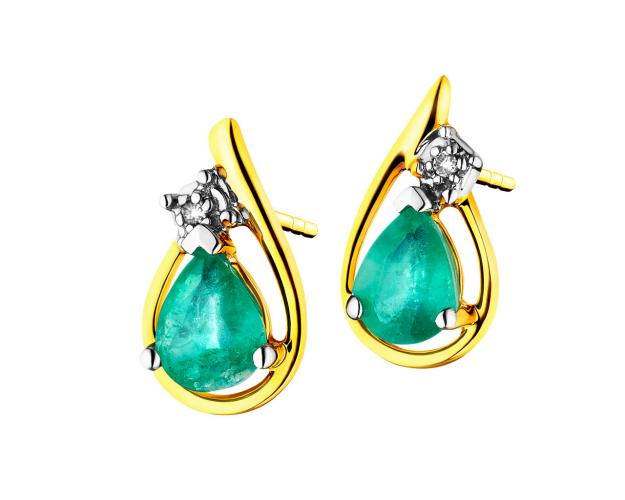 Yellow gold earrings with diamonds and emeralds