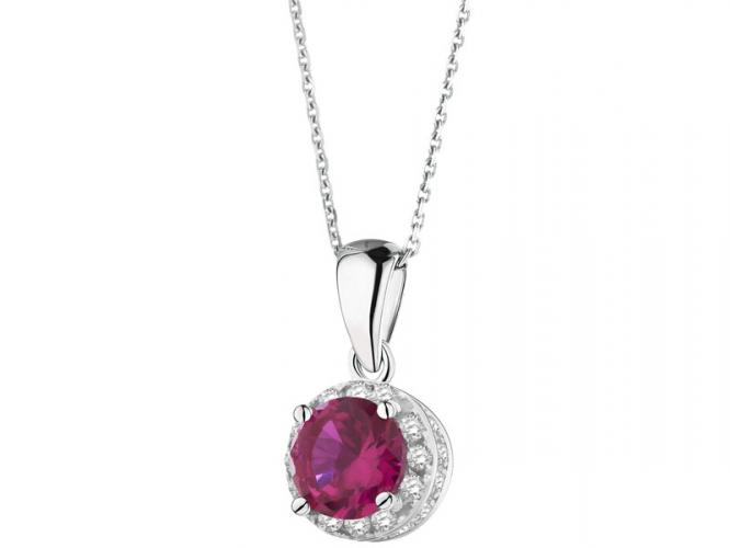 Silver pendant with cubic zirconias and synthetic corundum