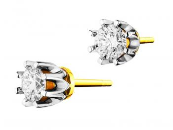 Yellow and white gold earrings with brilliants