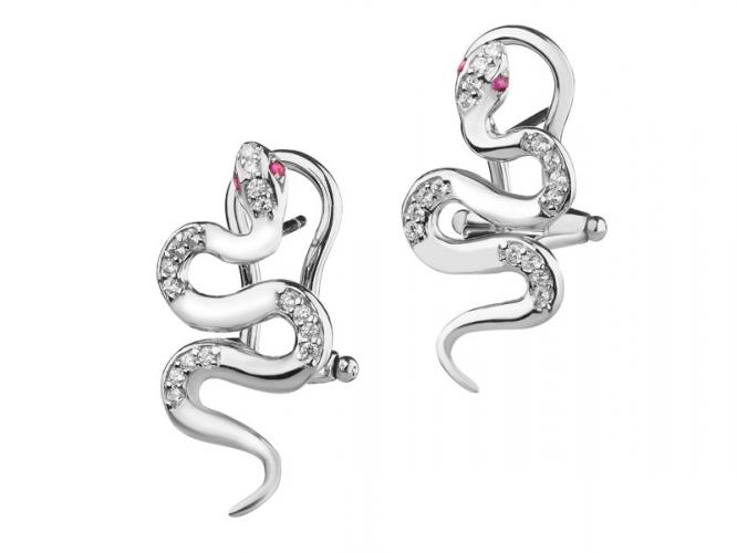 Silver earrings with cubic zirconias and rubies