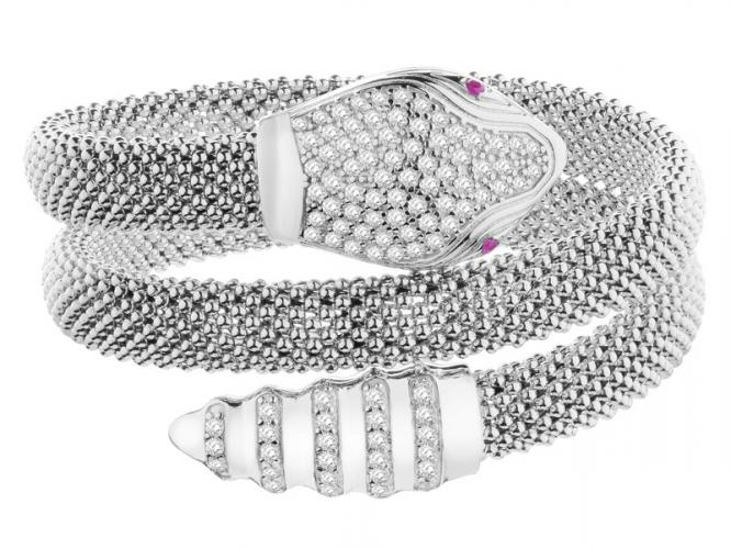 Silver bracelet with ruby and cubic zirconias