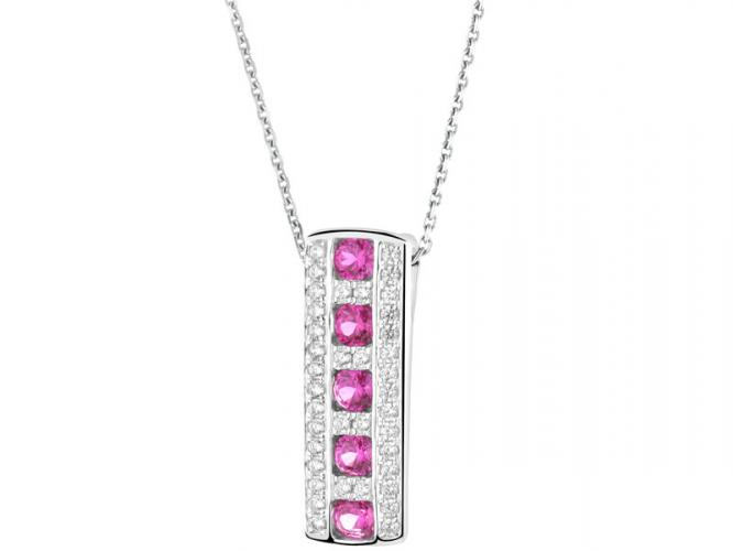 Silver pendant with synthetic ruby and cubic zirconias