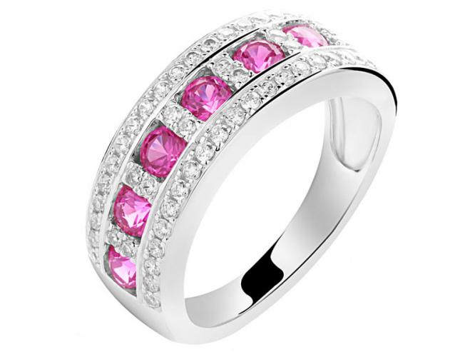 Silver ring with synthetic ruby and cubic zirconias