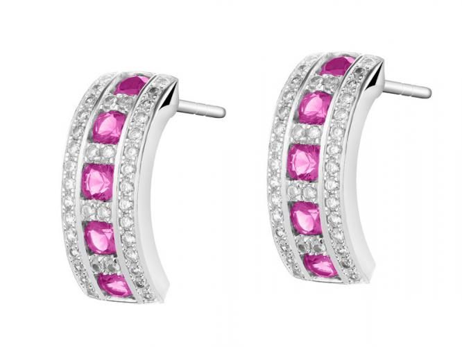 Silver earrings with synthetic ruby and cubic zirconias