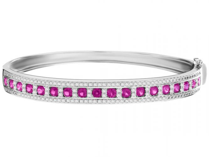 Silver bracelet with synthetic ruby and cubic zirconia