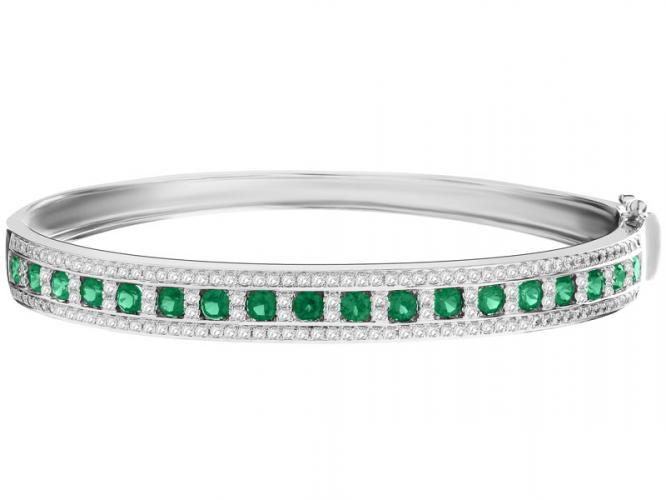 Silver bracelet with synthetic spinel and cubic zirconias