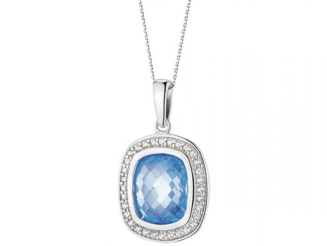Silver pendant with synthetic aquamarine and cubic zirconias