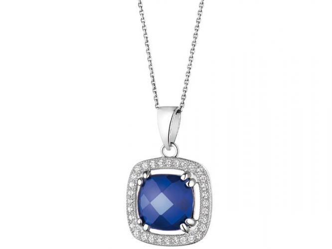 Silver pendant with synthetic spinel and cubic zirconias