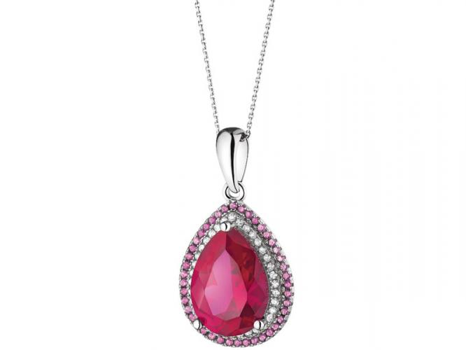 Silver pendant with synthetic corundum and cubic zirconias