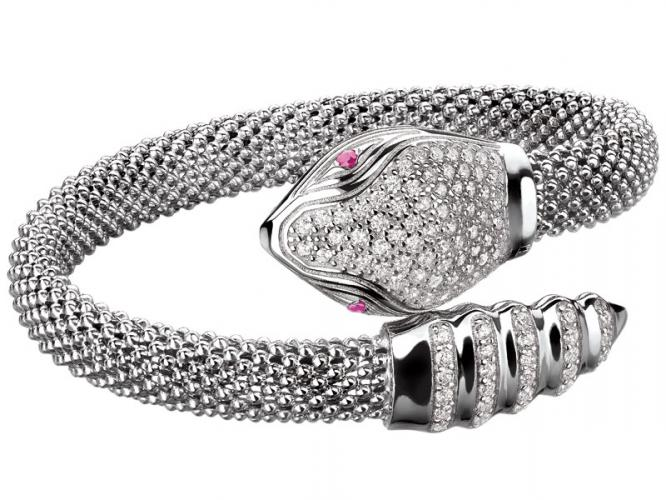 Silver bracelet with cubic zirconias and ruby