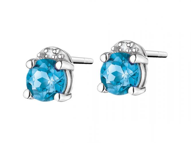 White gold earrings with diamonds and topazes (London Blue)