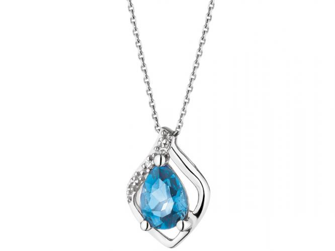 White gold pendant with diamond and topaz (London Blue)