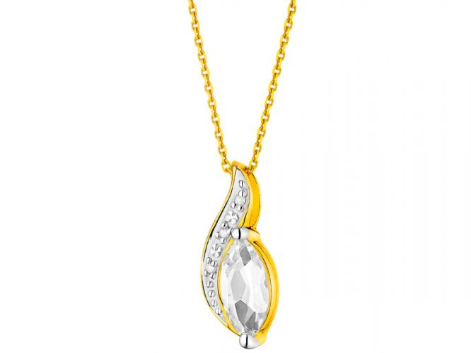 Yellow gold pendant with brilliants and topaz