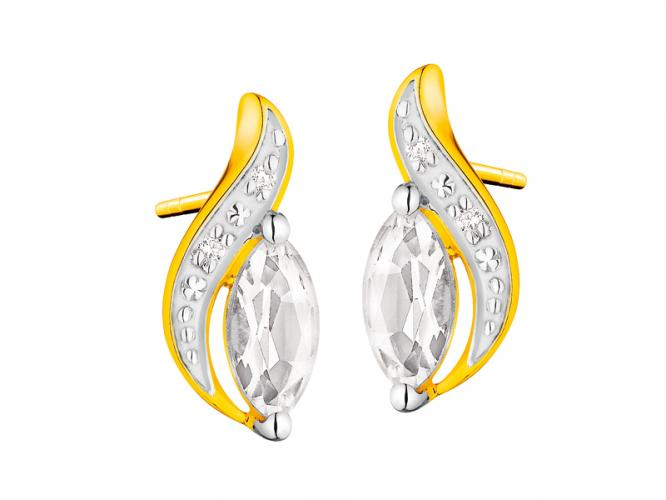 Yellow gold earrings with brilliants and topazes