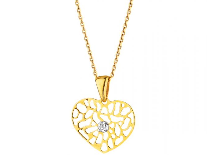 Yellow gold pendant with brilliant