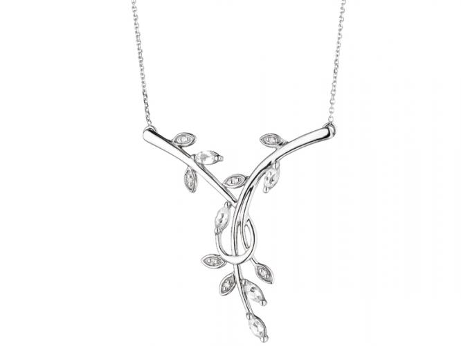 White gold necklace with diamonds and topazes