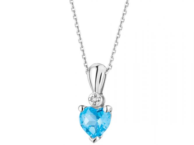 White gold pendant with diamond and topaz