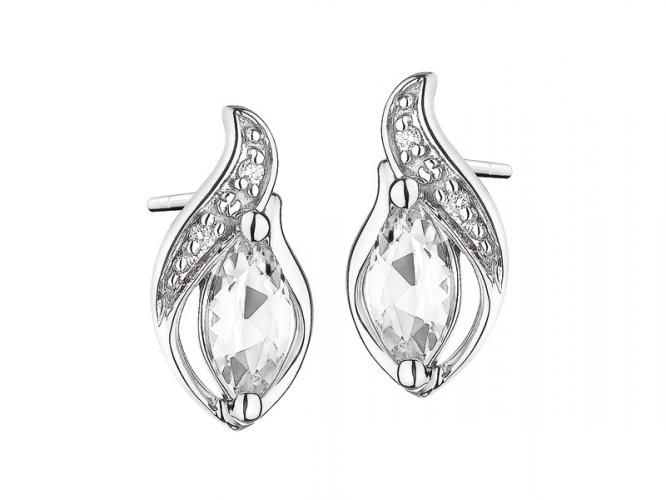 White gold earrings with brilliants and topazes