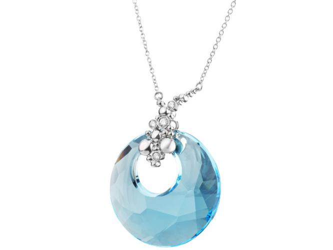 Silver necklace with crystal and cubic zirconias