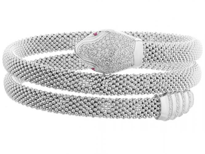 Silver arm bracelet with rubbies and cubic zirconias