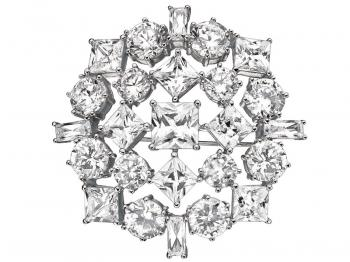 Silver brooch with cubic zirconias