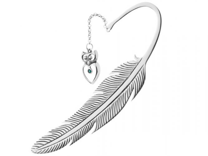 Silver bookmark with crystal