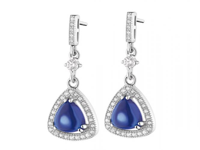 Silver earrings with cubic zirconias and synthetic spinel
