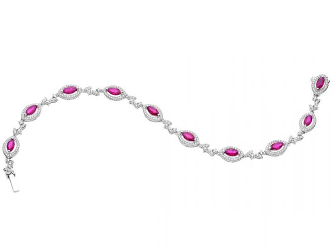 White gold bracelet with brilliants and rubies