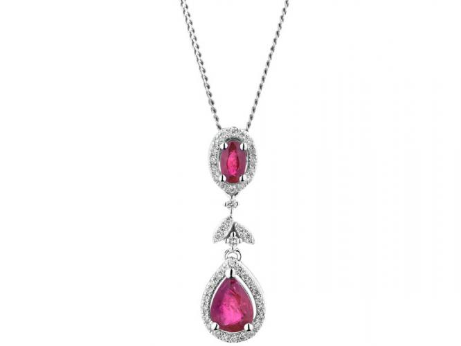 White gold pendant with brilliants and rubies
