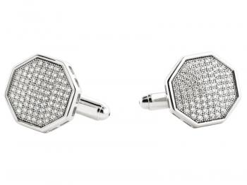 Silver cufflinks with cubic zirconias