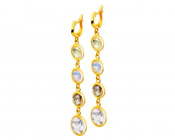 Gold-plated brass earrings with cubic zirconias and glass