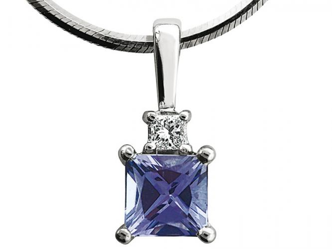 White gold pendant with diamond and tanzanite