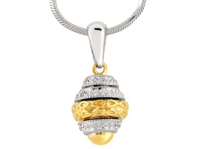 White and yellow gold pendant with brilliants