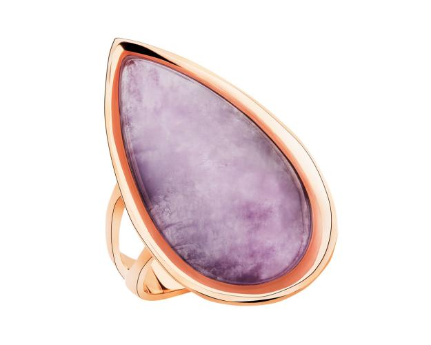 Brass ring with with amethyst