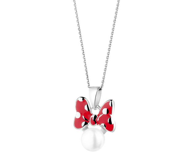 Silver pendant with pearl and enamel - Bow