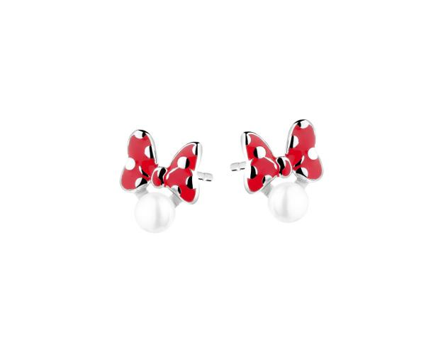 Silver earrings with pearls and enamel - Bow