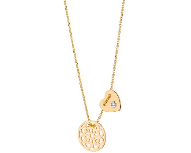 Yellow gold necklace with brilliant