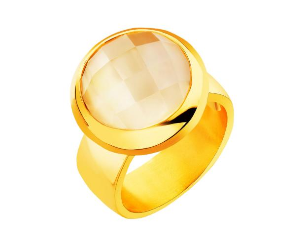 Gold plated bronze ring with crystal