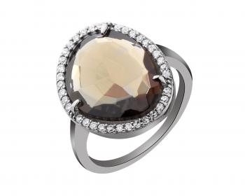 Bronze ring with glass and cubic zirconia