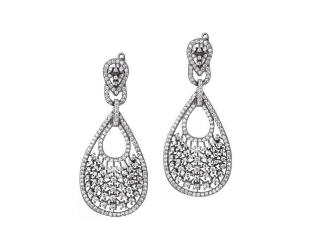Bronze earrings with cubic zirconia