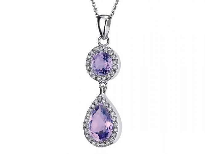 White gold pendant with brilliants and amethysts